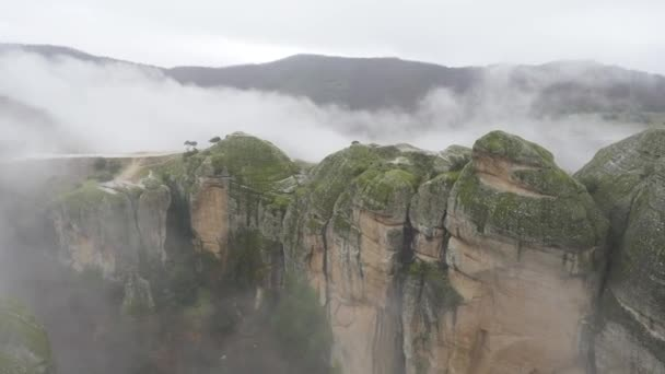 Cloudy Winter Meteora landscape in Greece, view from Grand Meteoron monastery