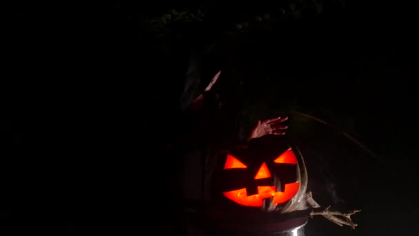 Red eye pumpking in Halloween Horror Scene