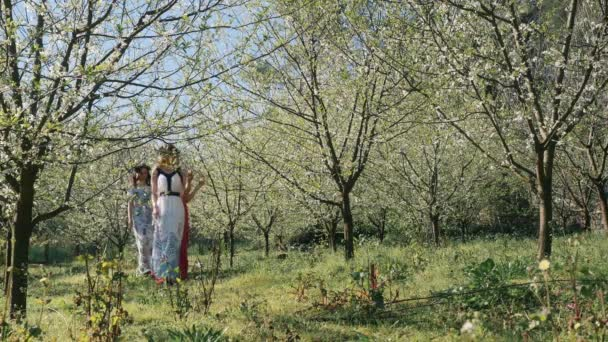 Young beautiful women in long dresses walking in spring blossom garden
