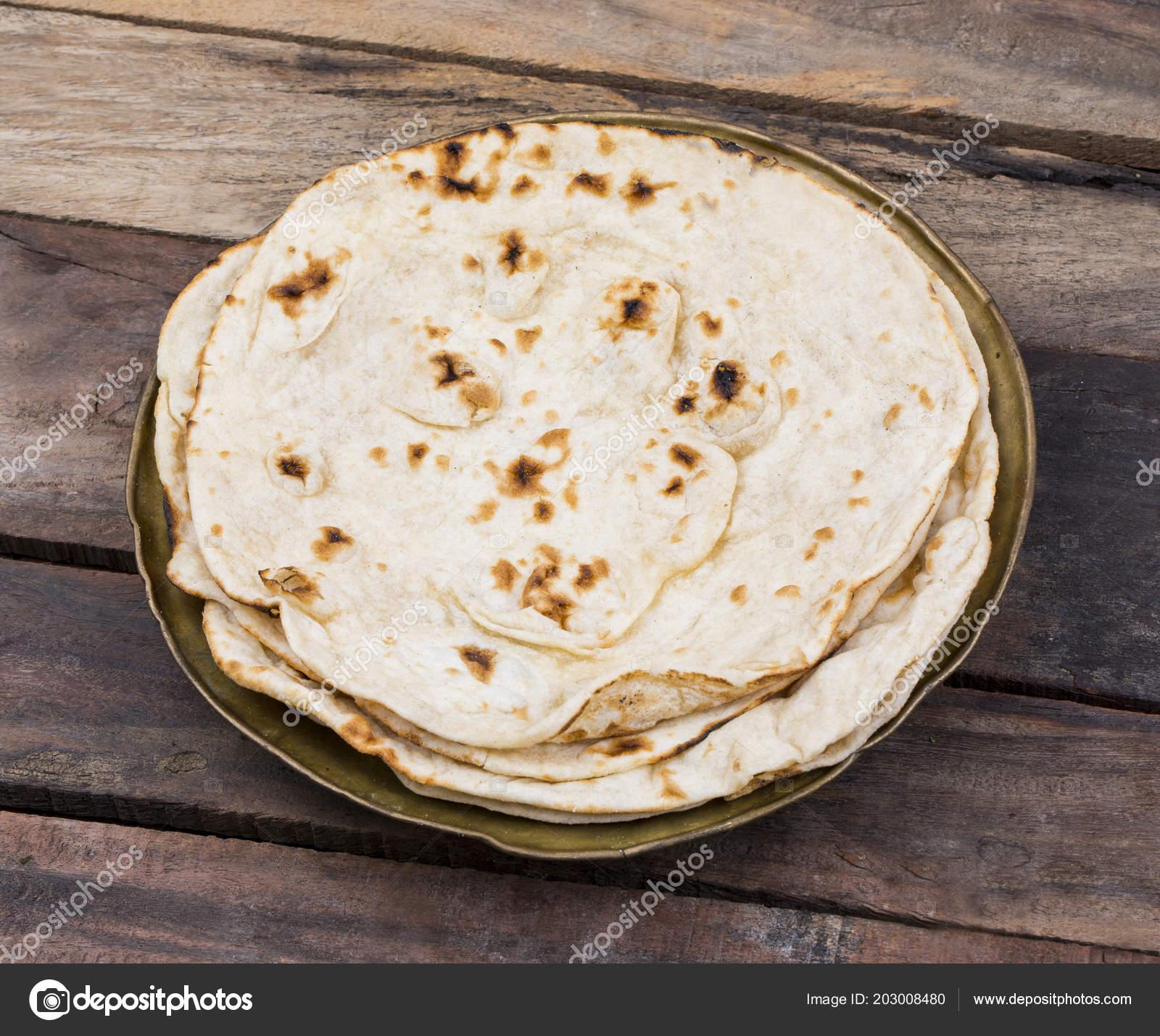 Indian Cuisine Tandoori Roti Served Plate Also Called Chapati