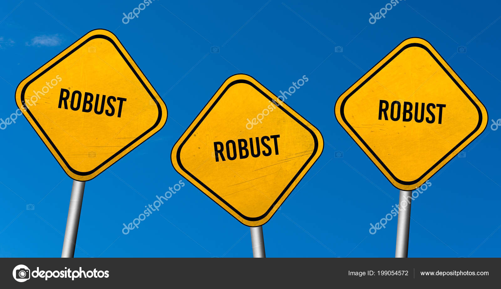robust yellow signs blue sky stock photo markusbeck 199054572