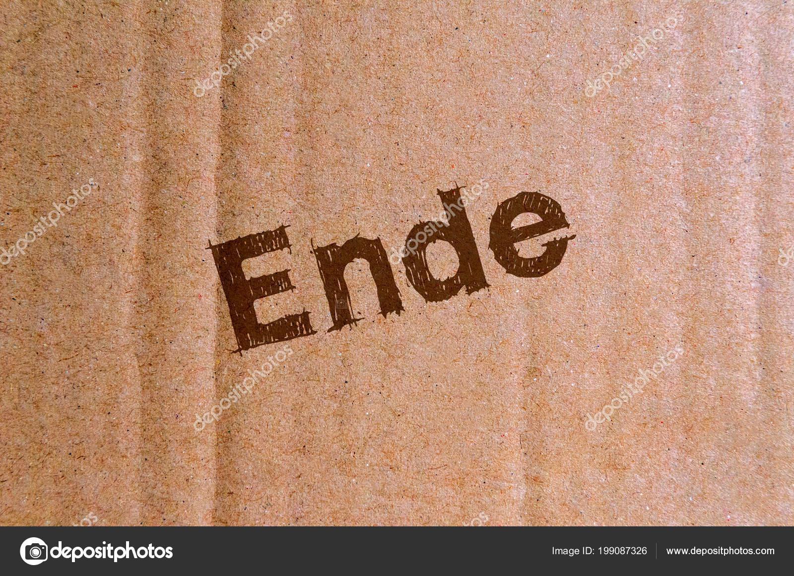Ende Karton Pappe Mit Braunem Buchstaben — Stockfoto ...