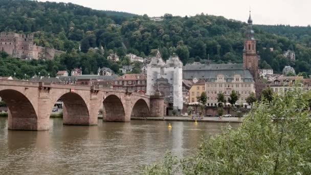 Karl-Theodor-ponte con il castello, a basso angolo, Heidelberg, estate 2018