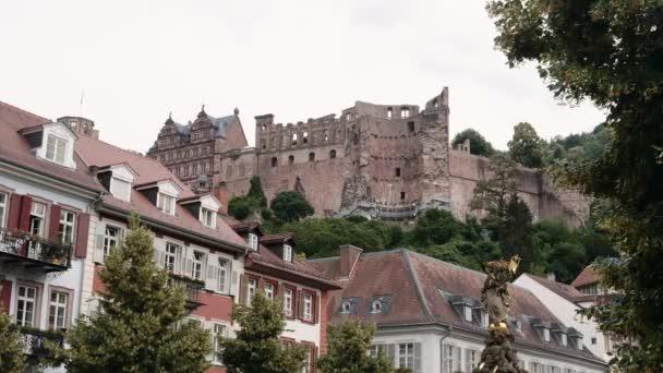 Zřícenina hradu Heidelberg, nízký úhel, letní 2018