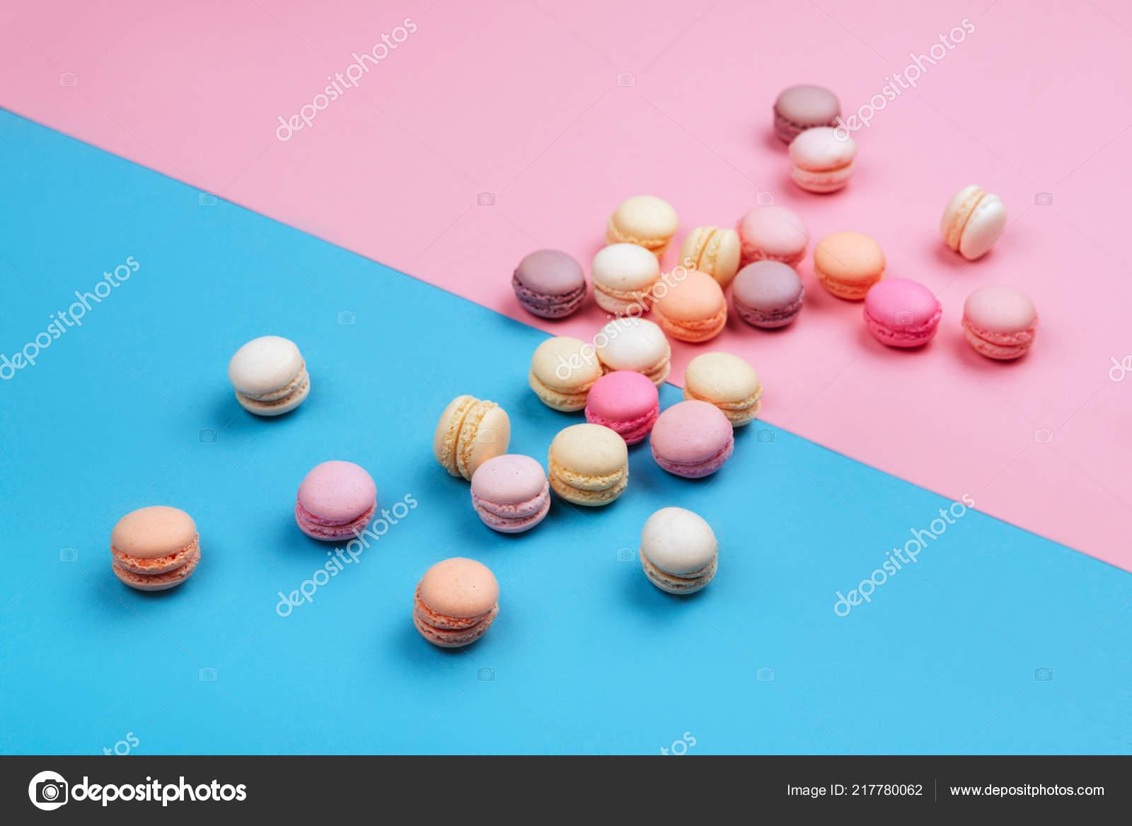 Cake Macaron Macaroon Pink Blue Background Flavor Almond Cookies Pastel Stock Photo C Basarabmargo Gmail Com 217780062