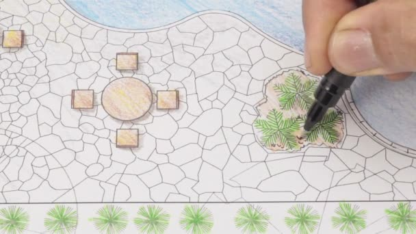 Zahradní architekt design backyard patio plán pro hotel