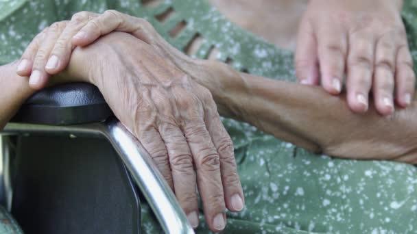 Tochter pflegt ältere Mutter im Rollstuhl zu Hause