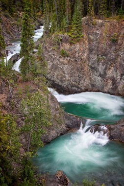 """Картина, постер, плакат, фотообои """"вращающийся, каскадный поток бирюзовых вод в реке юкон излучает дикость региона. уайтхорс, территория юкон, канада ."""", артикул 213818426"""