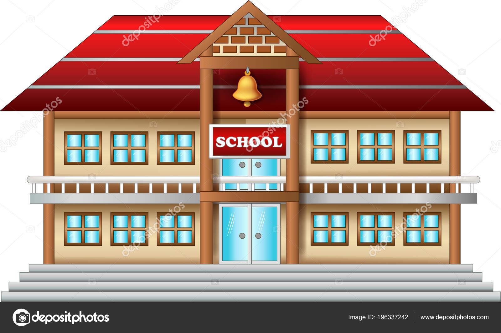 Dibujos Animados Escuela Antigua Sobre Fondo Blanco
