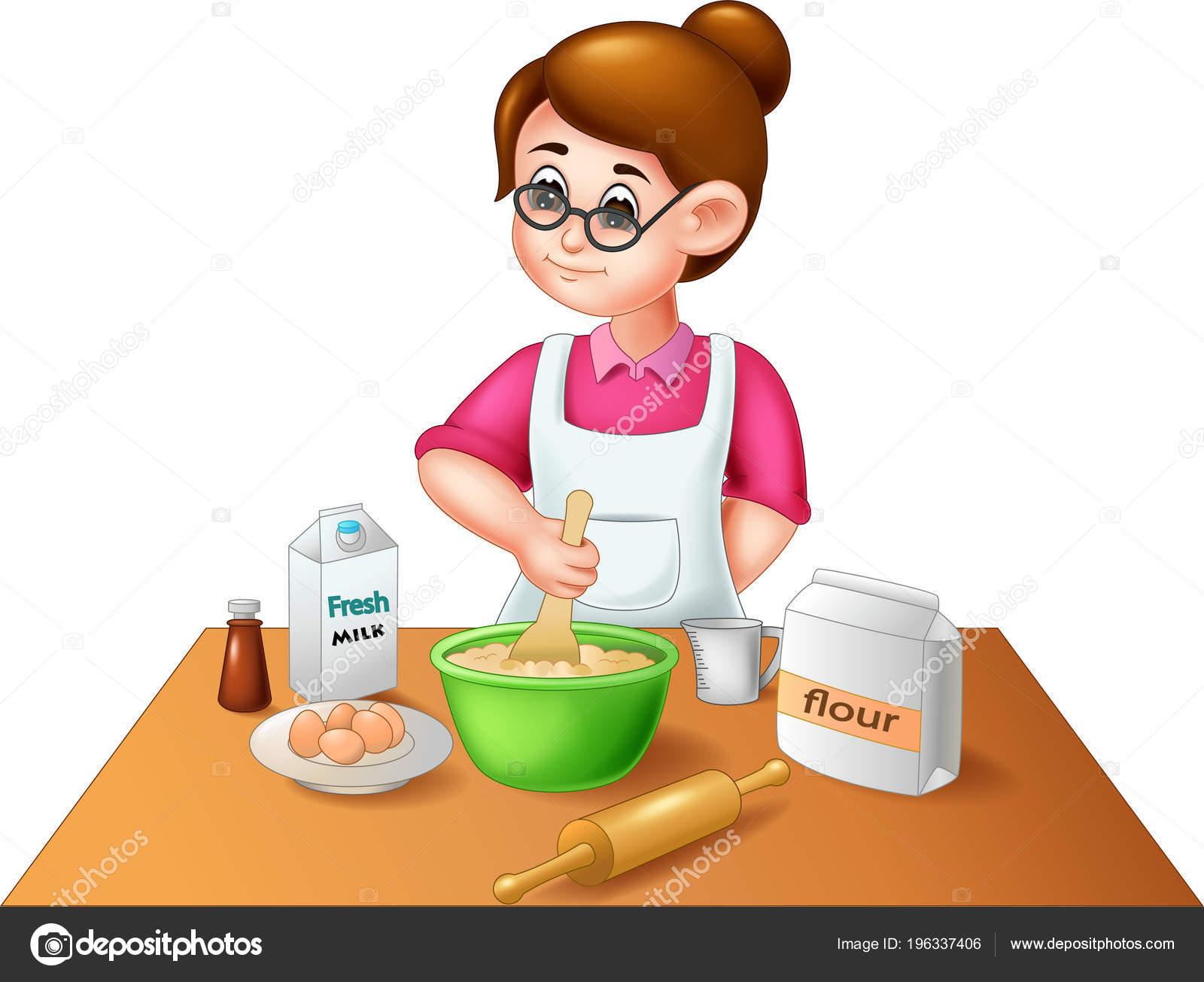 Dibujos Animados Madre Bella Cocina Pastel Con Sonrisa