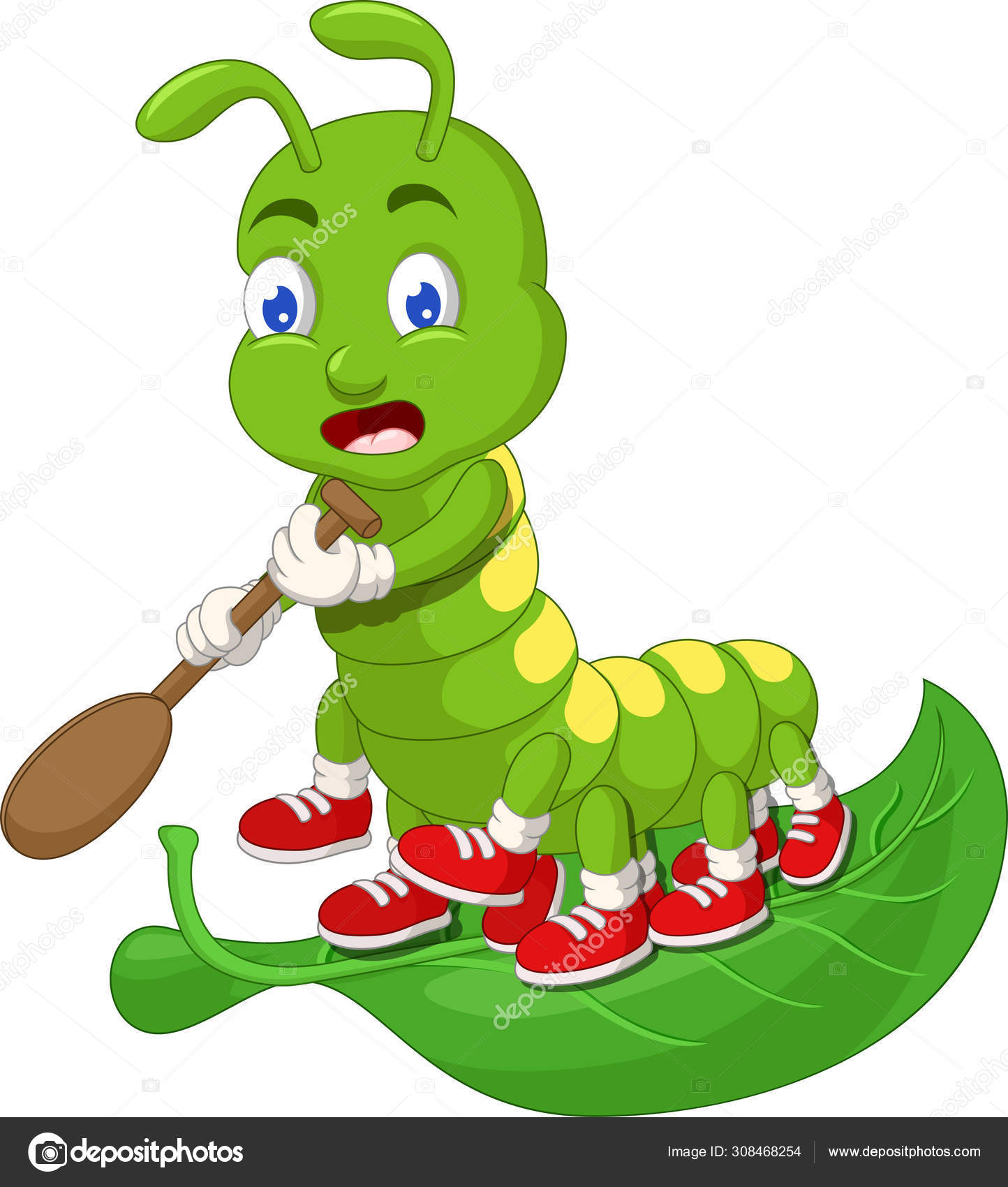 Funny Green Caterpillar Wearing Red Shoes Green Leaf Cartoon Your