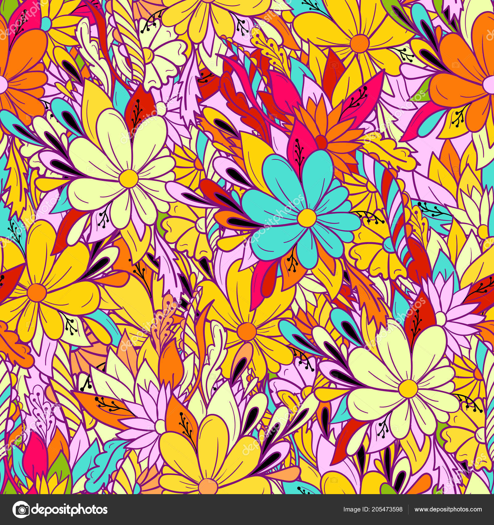 Seamless Background Colorful Floral Pattern With Daisies Stock