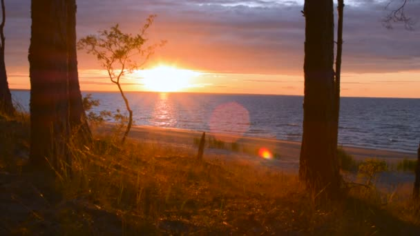 Sonnenuntergang Sonnenaufgang mit perfektem Linsenschlag in der Dämmerung am Meeresufer