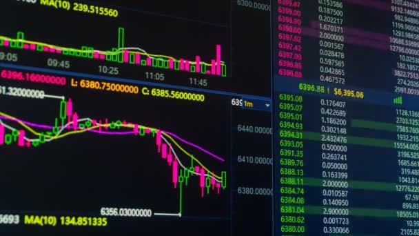 Bitcoin cryptocurrency diagram megy fel és le a digitális piaci csere