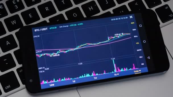 Bitcoin diagram cryptocurrency digitális csere laptop billentyűzet mobiltelefon képernyőjén, üzleti finanszírozása kereskedelmi cryptocurrency koncepció