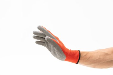 Man hand with red anti slip glove
