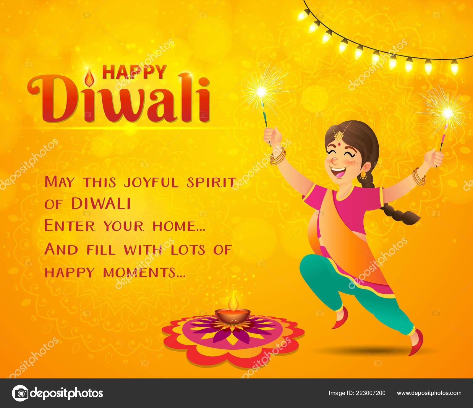 Kartu Ucapan Selamat Tinggal Untuk Diwali Gadis India Kartun Lucu Stok Vektor C Augustdesign 223007200