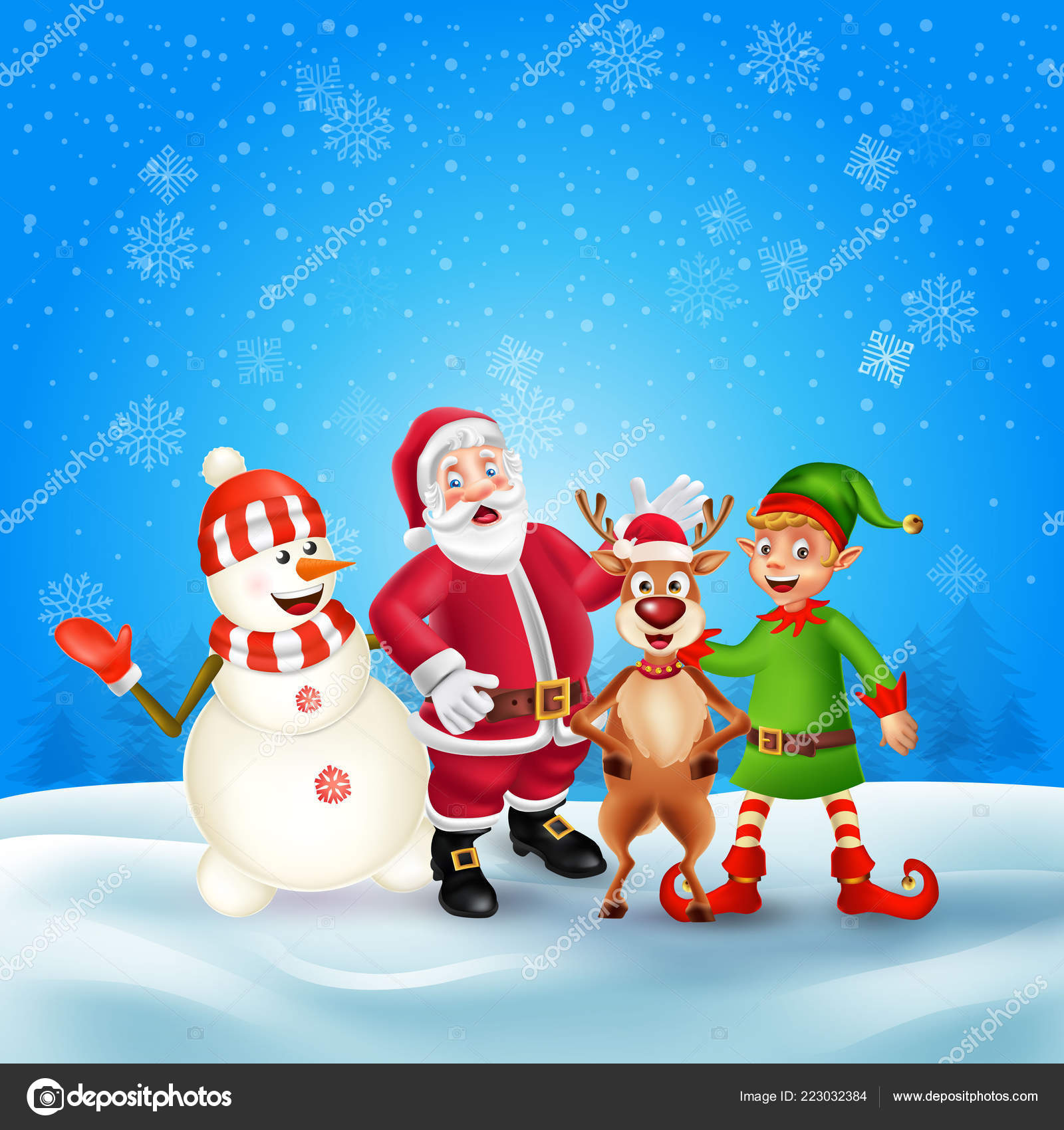 Personnages Dessin Animé Noël Mignons Père Noël Bonhomme Neige