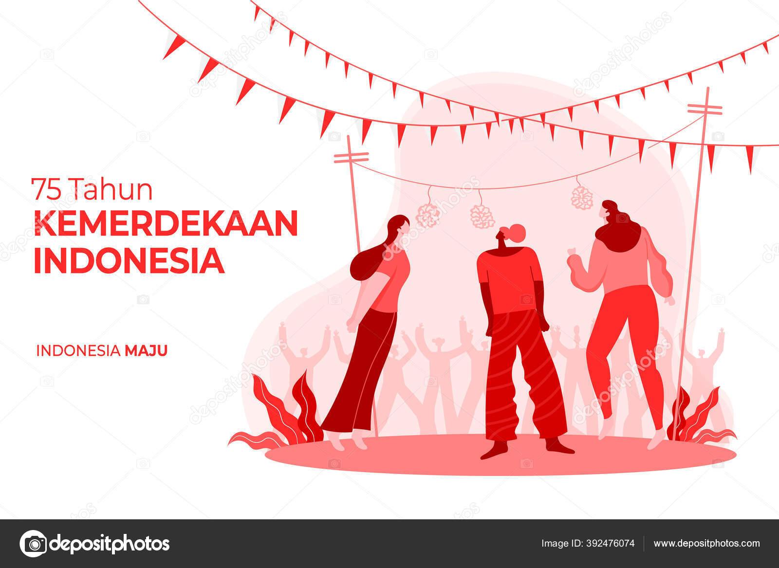 Kartu Ucapan Kemerdekaan Indonesia Dengan Ilustrasi Konsep Permainan Tradisional Tahun Stok Vektor C Augustdesign 392476074