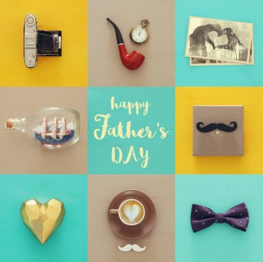 top view collage with man life style objects. Father's day concept