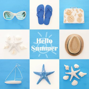 nautical collage with sea life style objects over blue and white wooden background