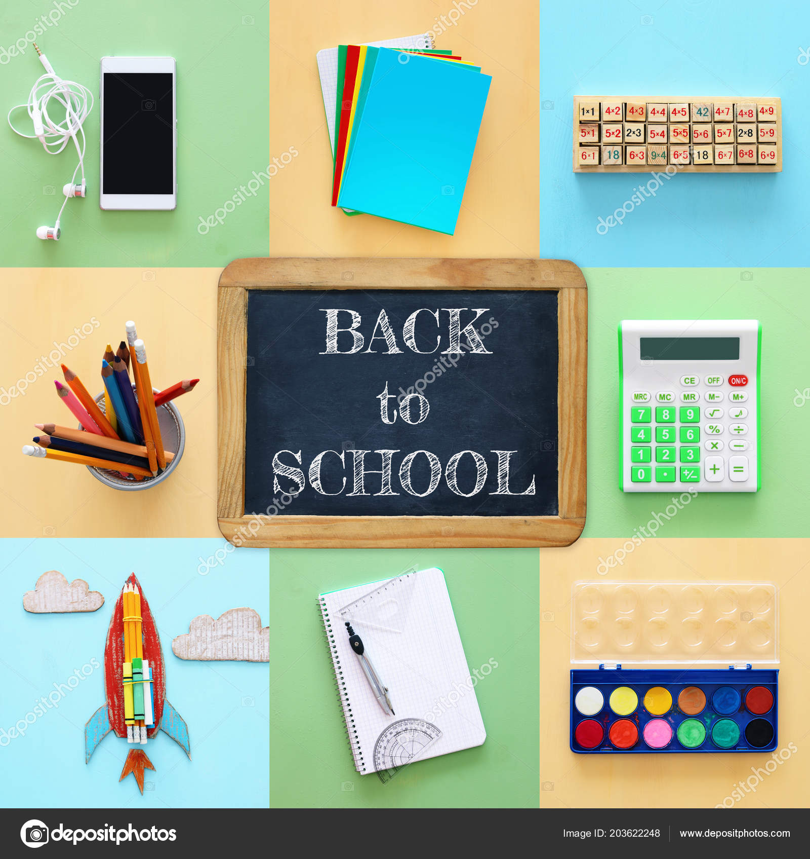 Back School Collage Concept School Objects Supply Classroom