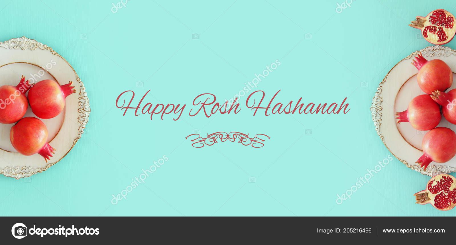 Rosh Hashanah Jewish New Year Holiday Concept Pomegranate Raditional