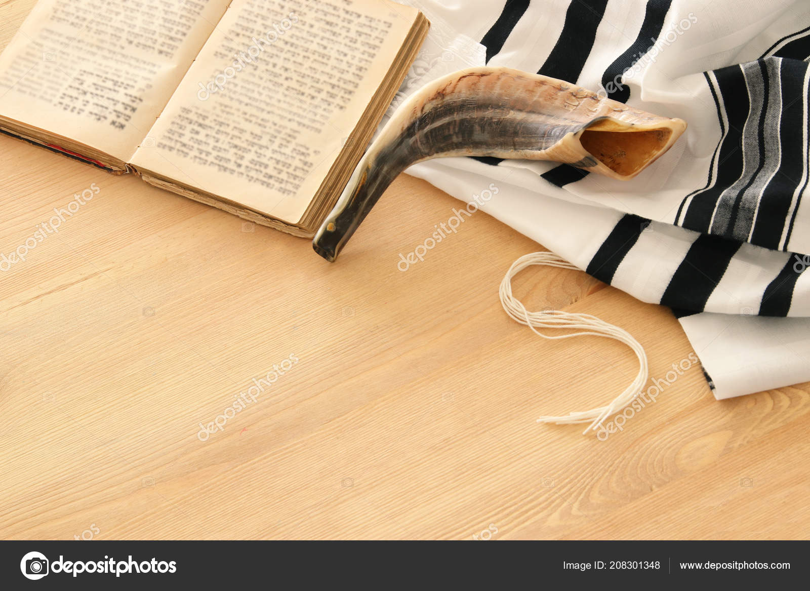 Prayer Shawl Tallit Prayer Book Shofar Horn Jewish Religious Symbols