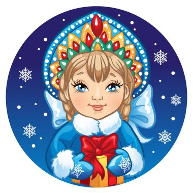 Portrait of Russian Snow Maiden with a gift. Vector illustration on a round with snowflakes. Icon traditional New Year character Snegurochka.
