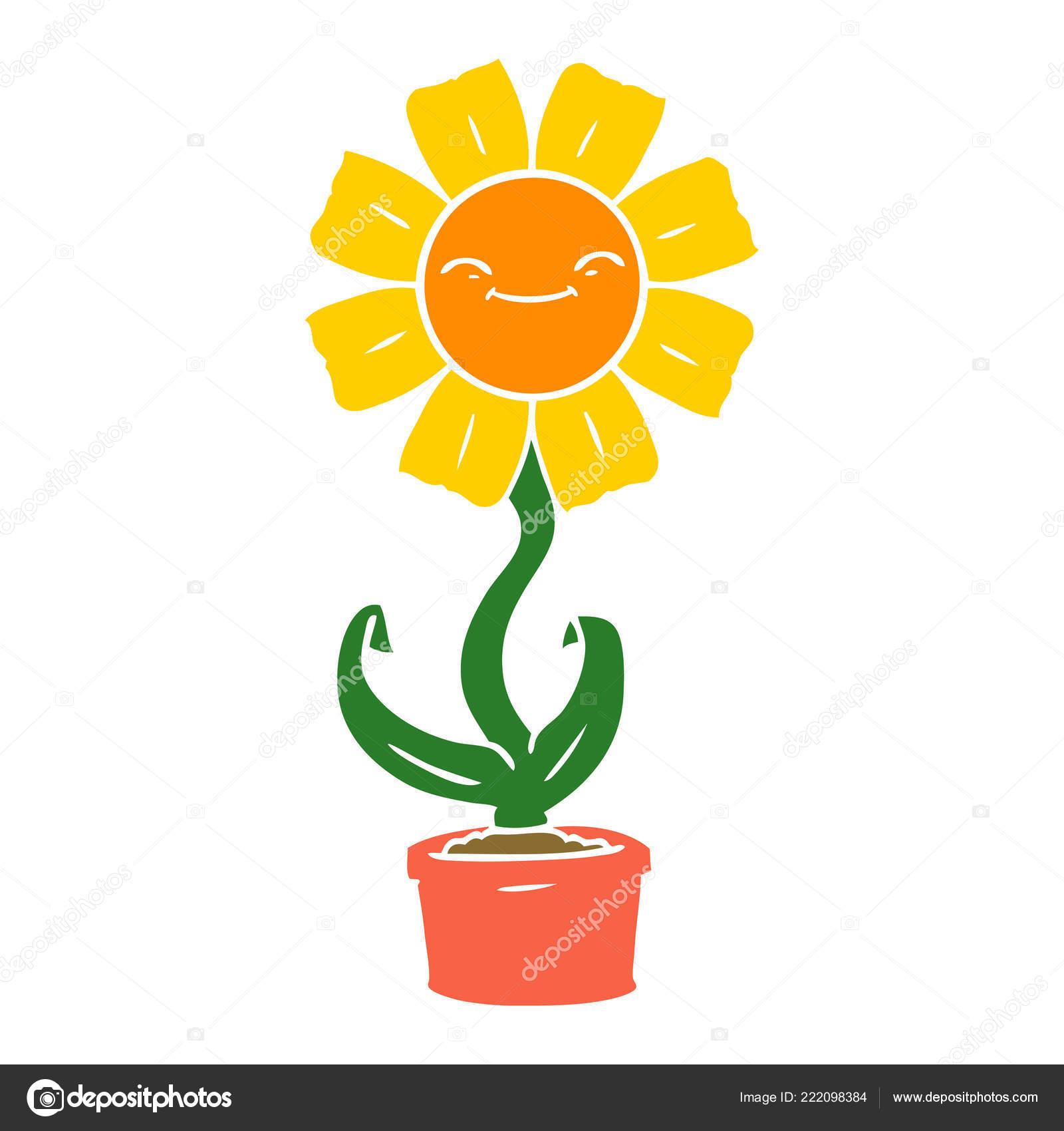Fleur Couleur Plat Heureux Style Dessin Animé Image