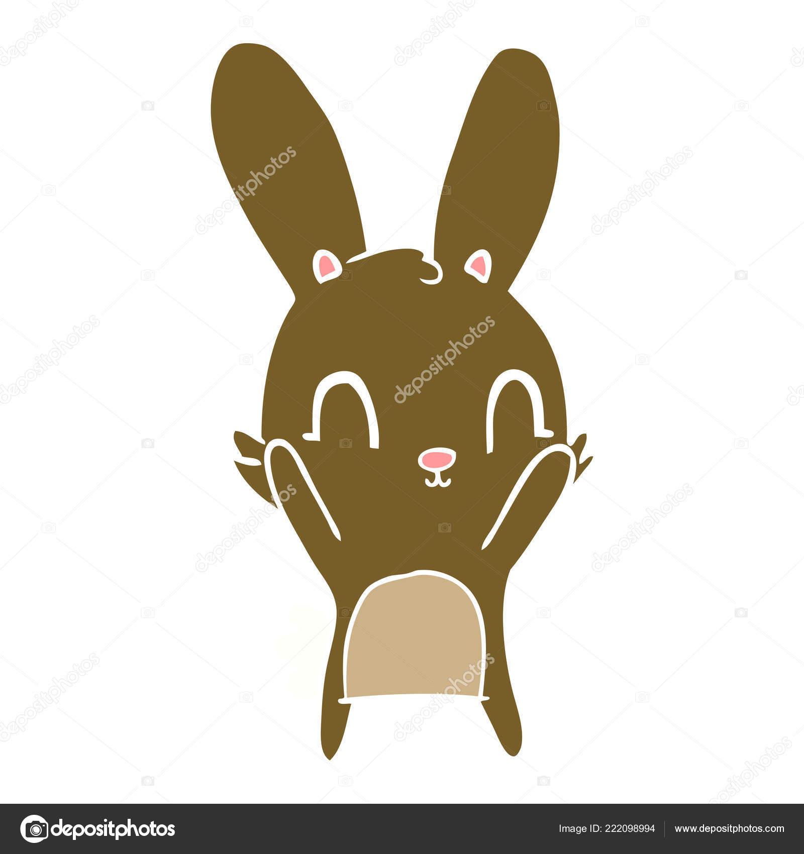 Lapin Dessin Anime Mignon Plat Couleur Style Image Vectorielle