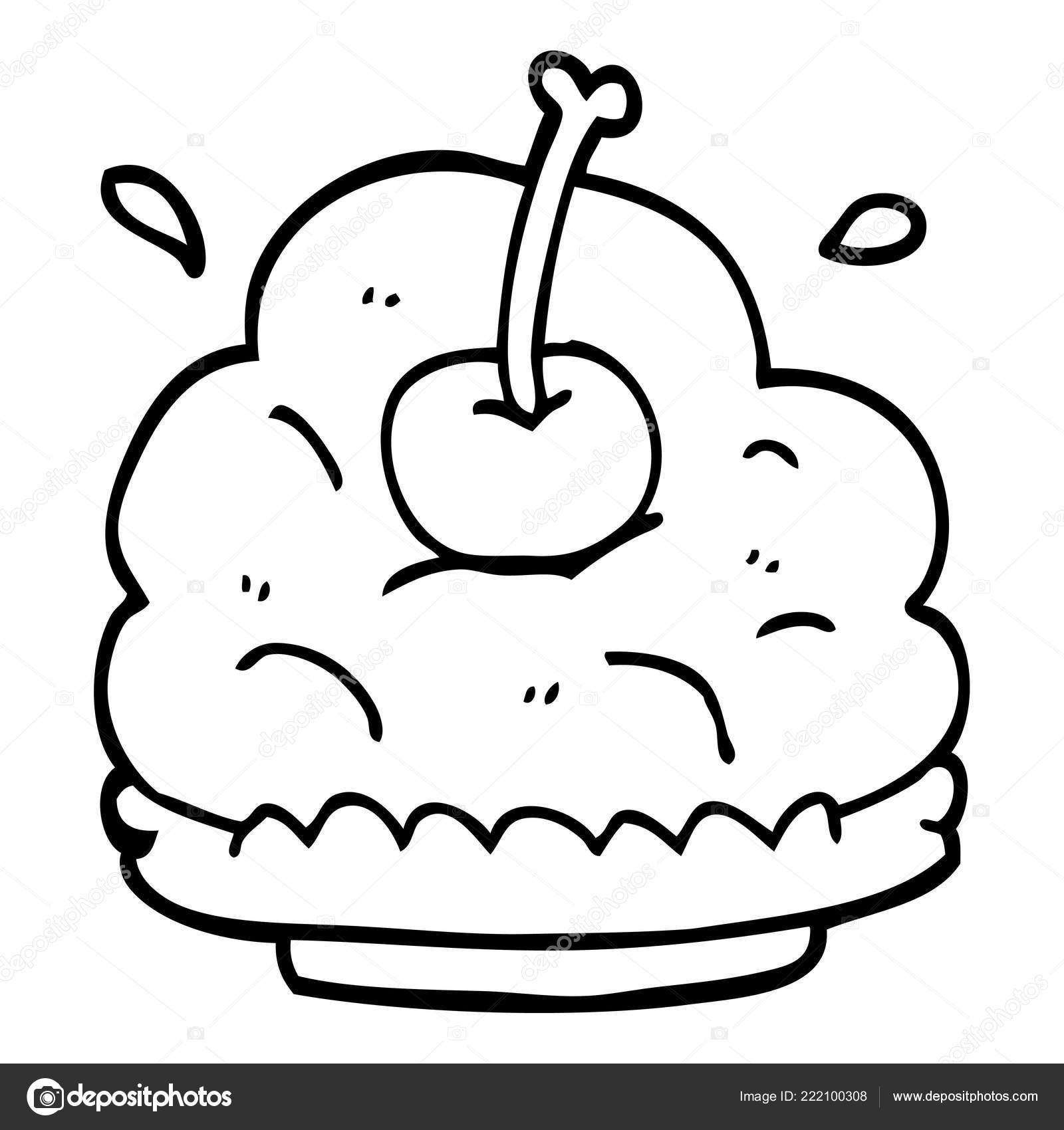 Strichzeichnung Cartoon Riesige Eis Dessert Stockvektor