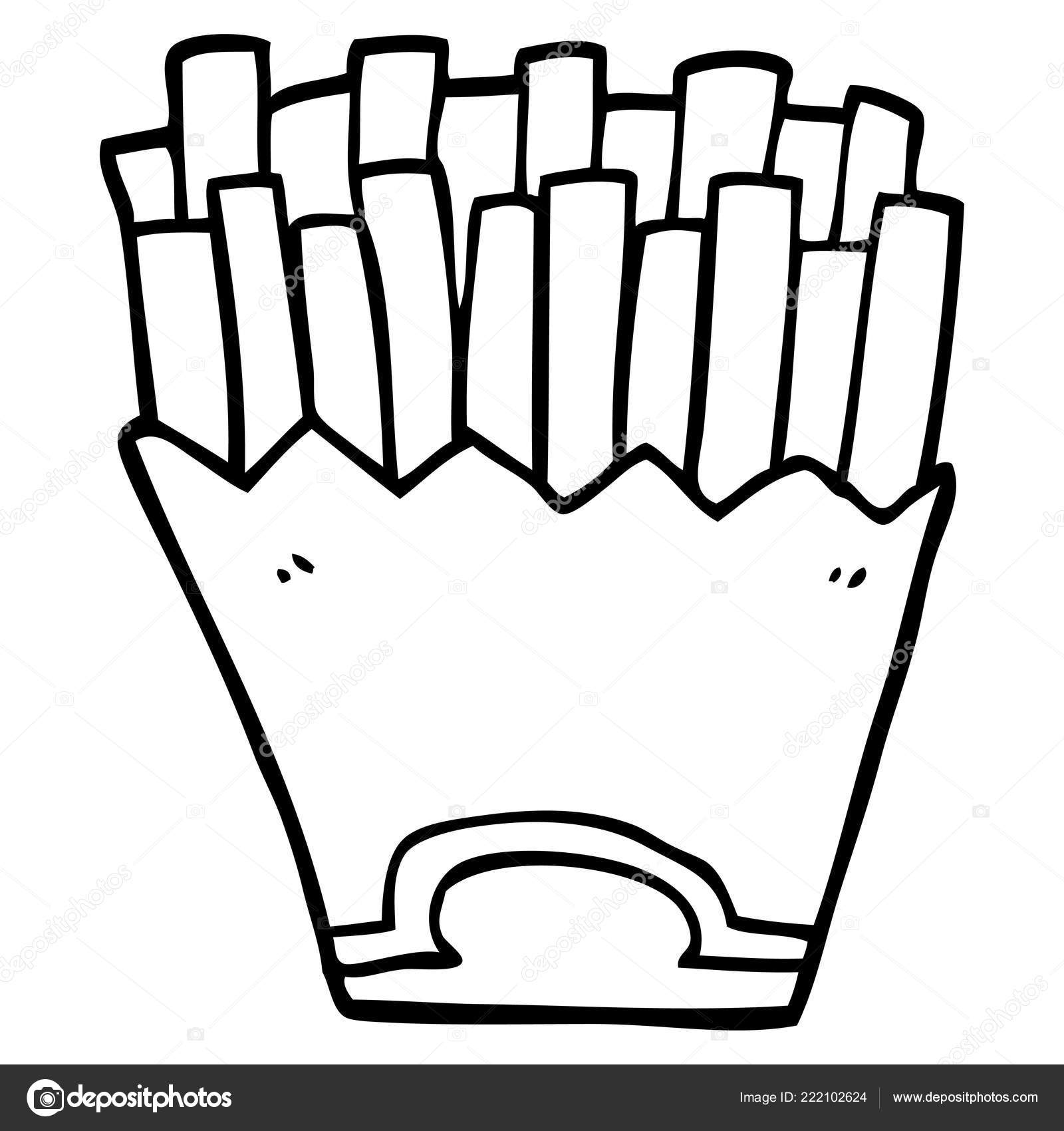 Line Drawing Cartoon French Fries Stock Vector C Lineartestpilot