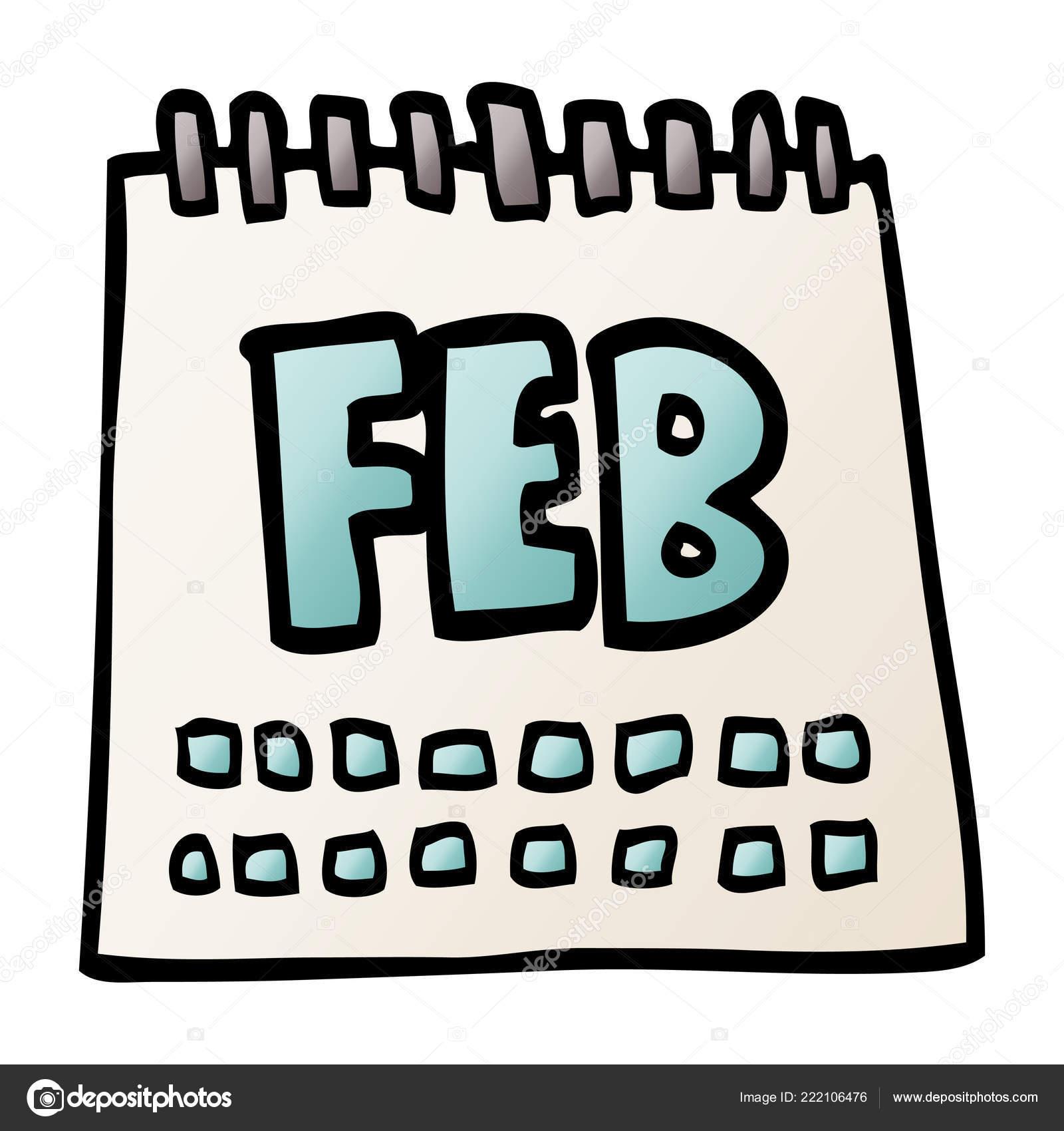 Calendario Doodle Desenho Animado Mostrando Mes Fevereiro
