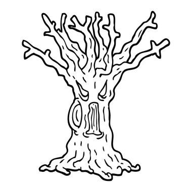 black and white cartoon spooky tree