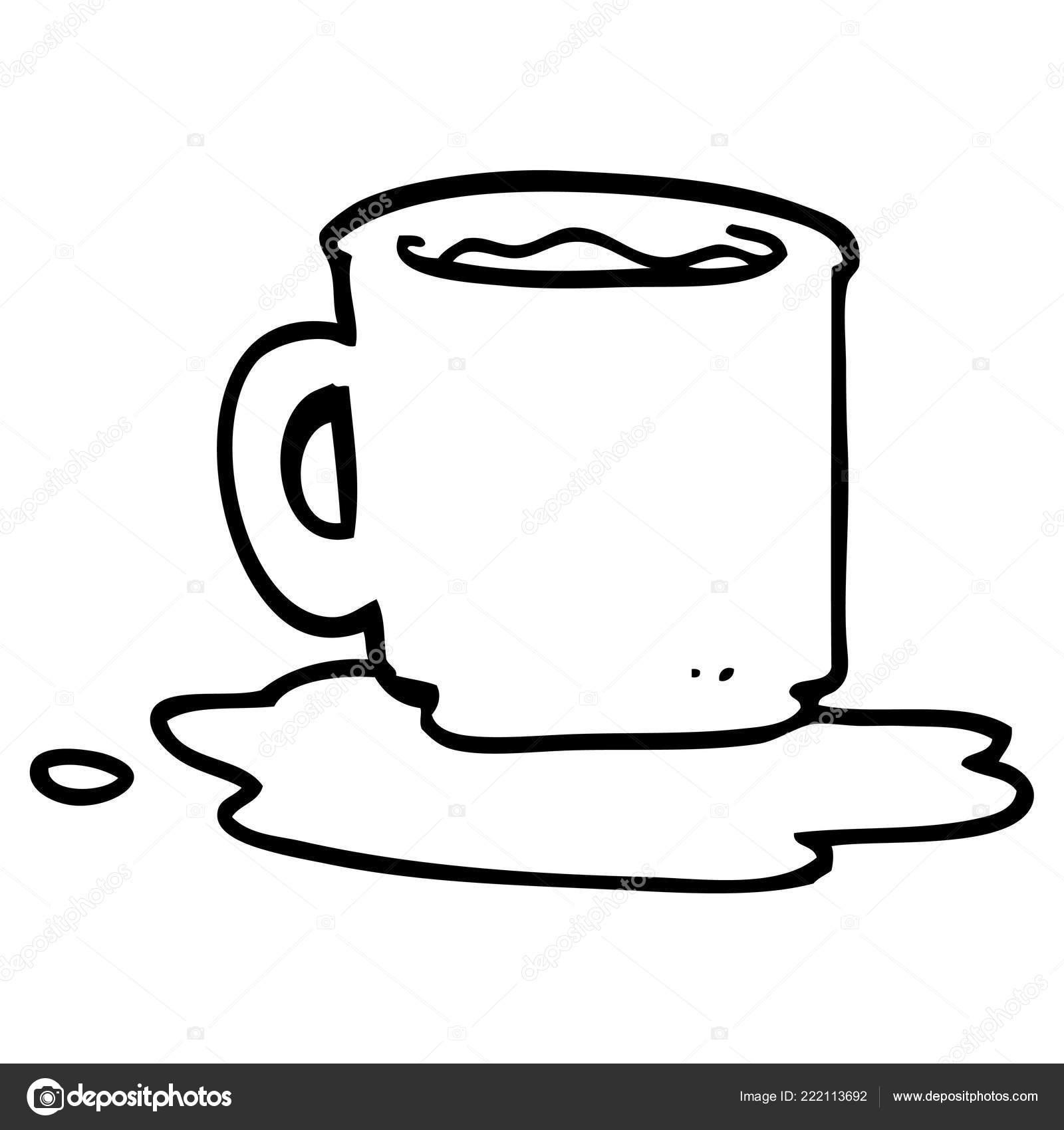 Line Drawing Cartoon Spilt Mug Tea Stock Vector C Lineartestpilot 222113692