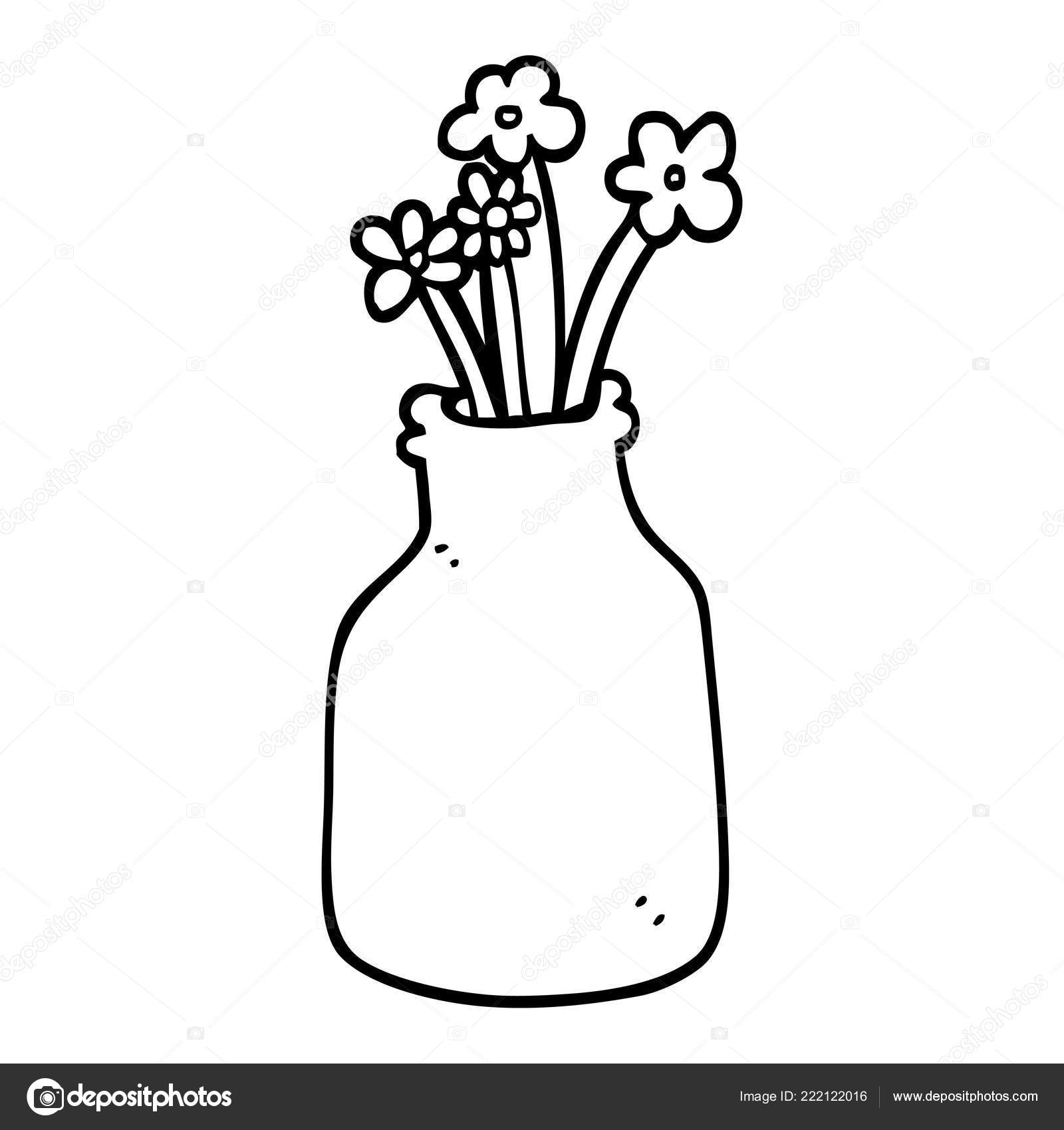 Black White Cartoon Flowers Vase Stock Vector Lineartestpilot
