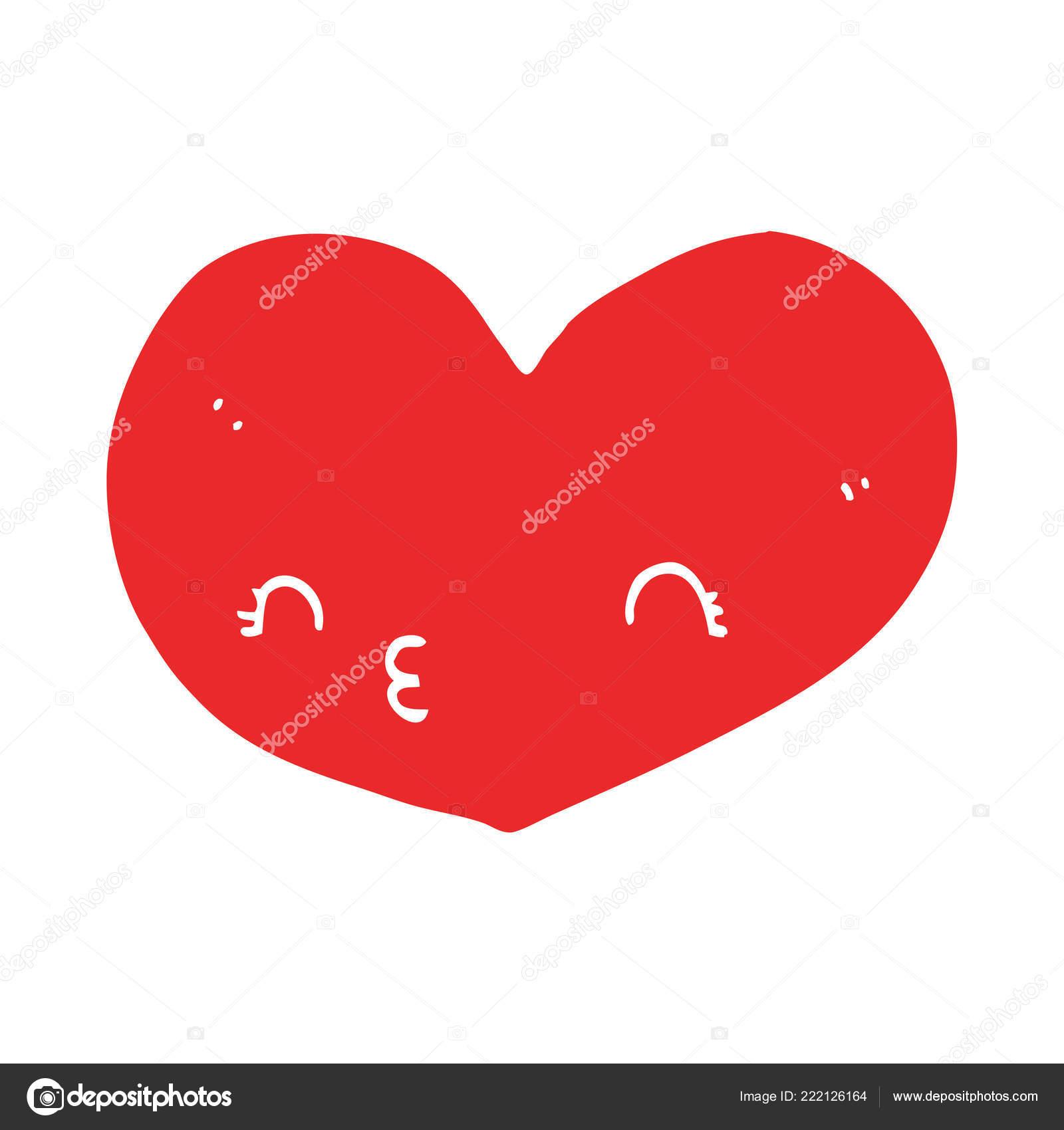 Plat Couleur Style Dessin Animé Amour Coeur Image
