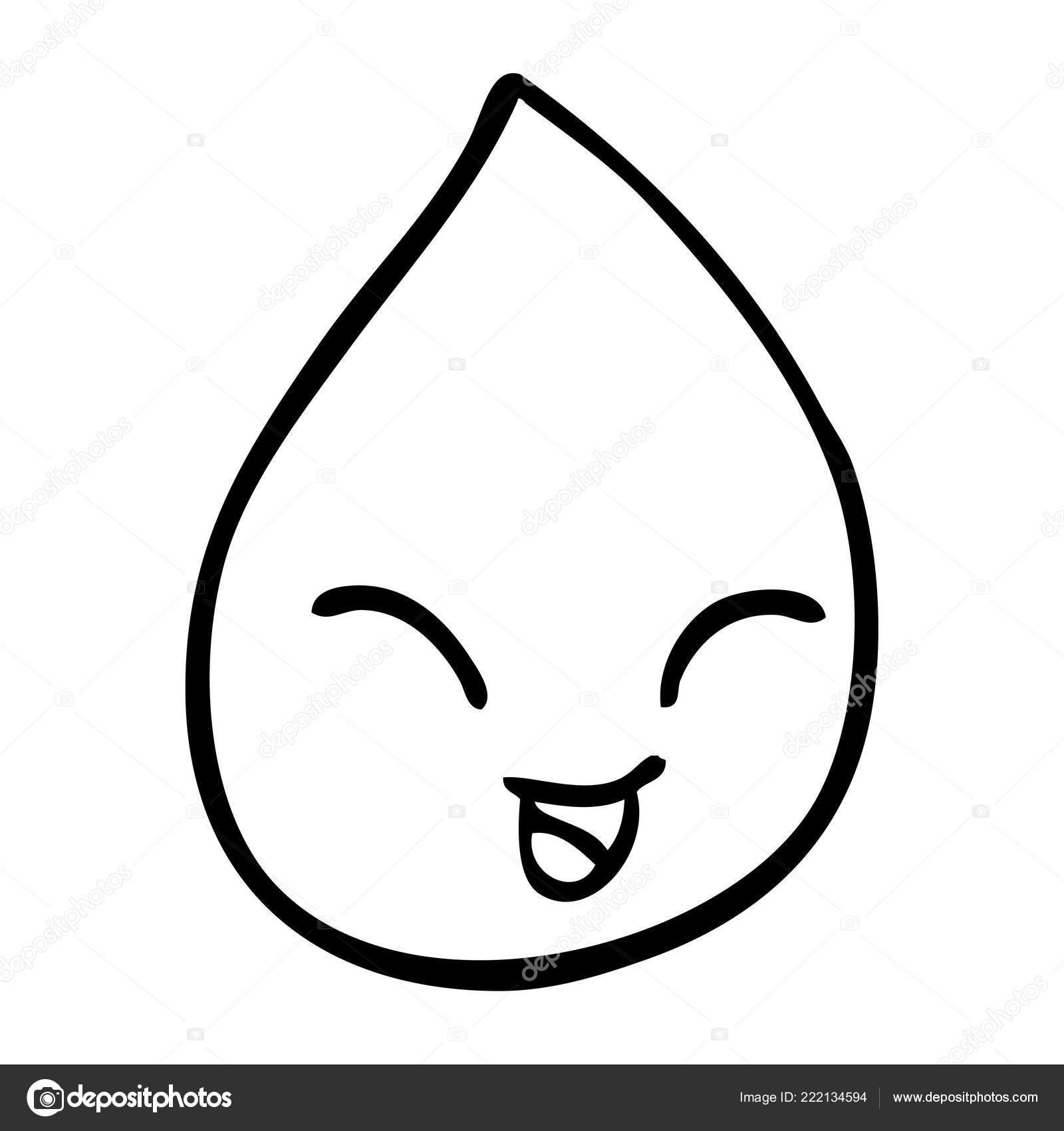 Line Drawing Cartoon Blood Drop Stock Vector C Lineartestpilot