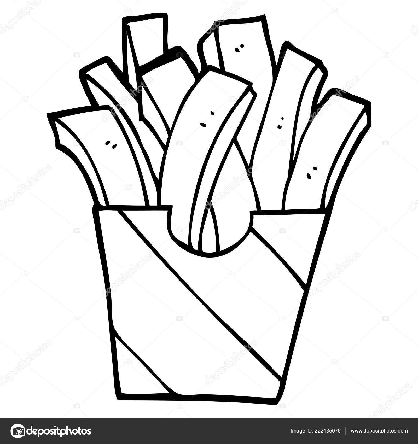 Line Drawing Cartoon Takeout Fries Stock Vector