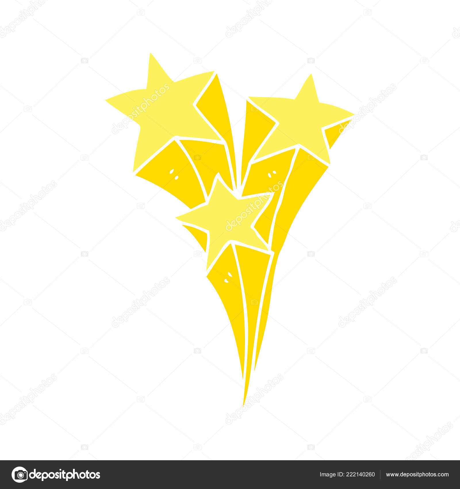 Flat Color Style Cartoon Shooting Stars Stock Vector