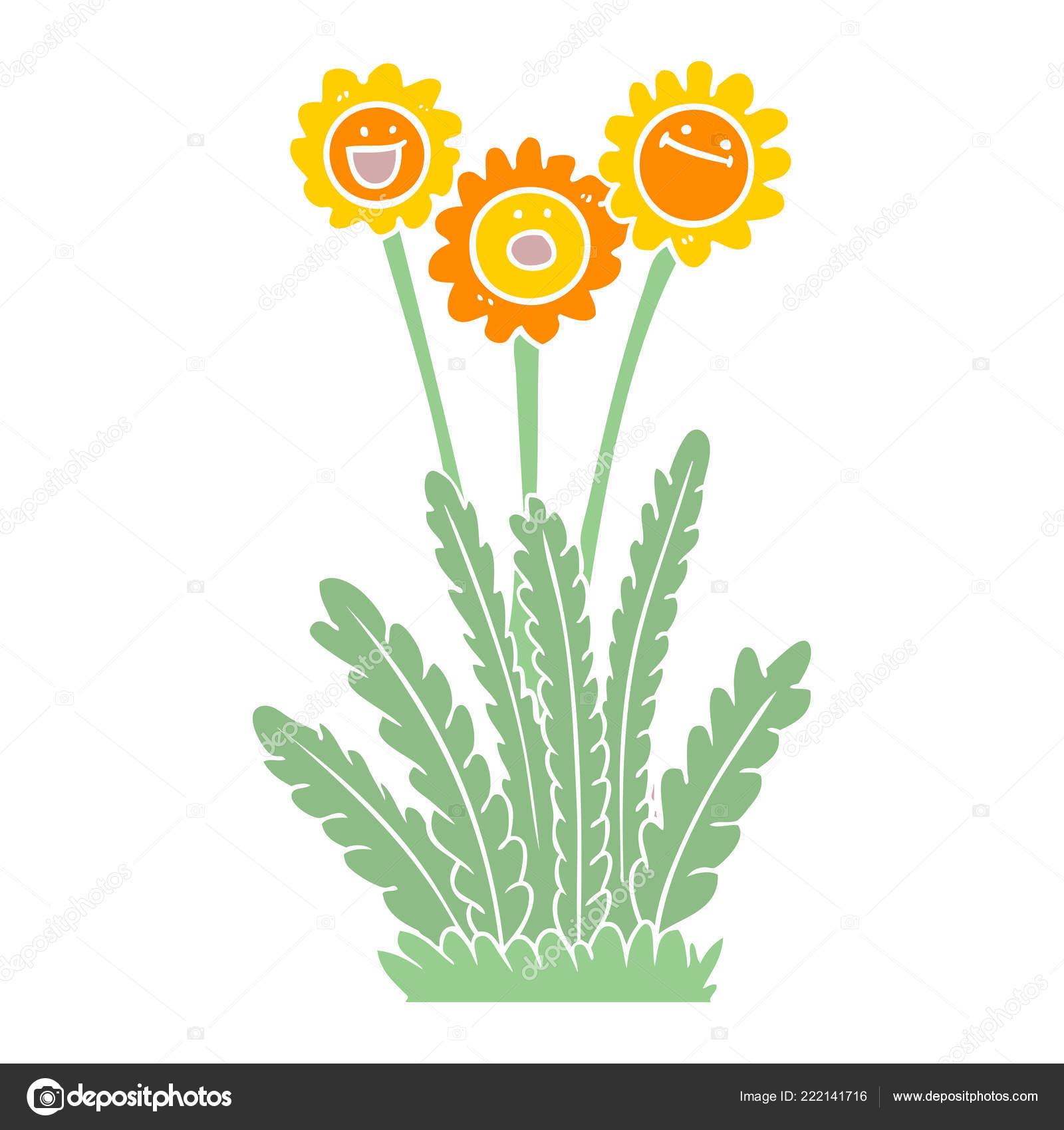 Happy Fleurs Couleur Plat Style Dessin Animé Image