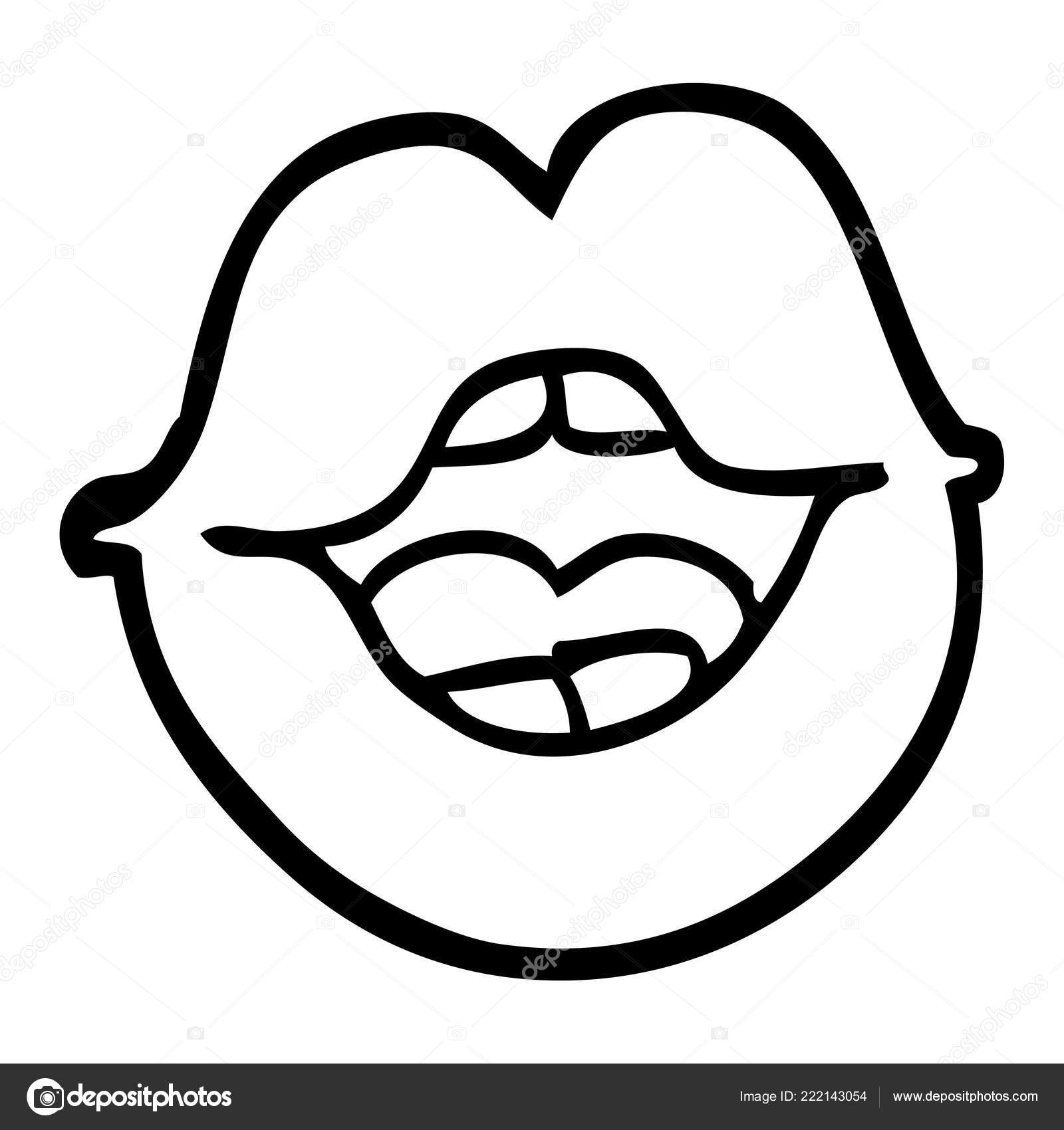 Black White Cartoon Red Lips Stock Vector C Lineartestpilot 222143054
