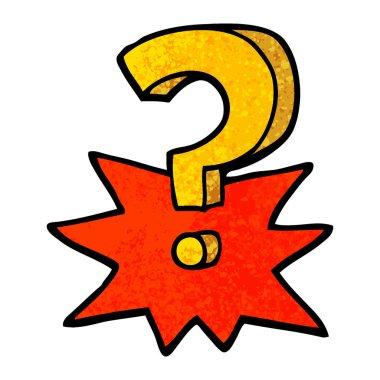 grunge textured illustration cartoon question mark
