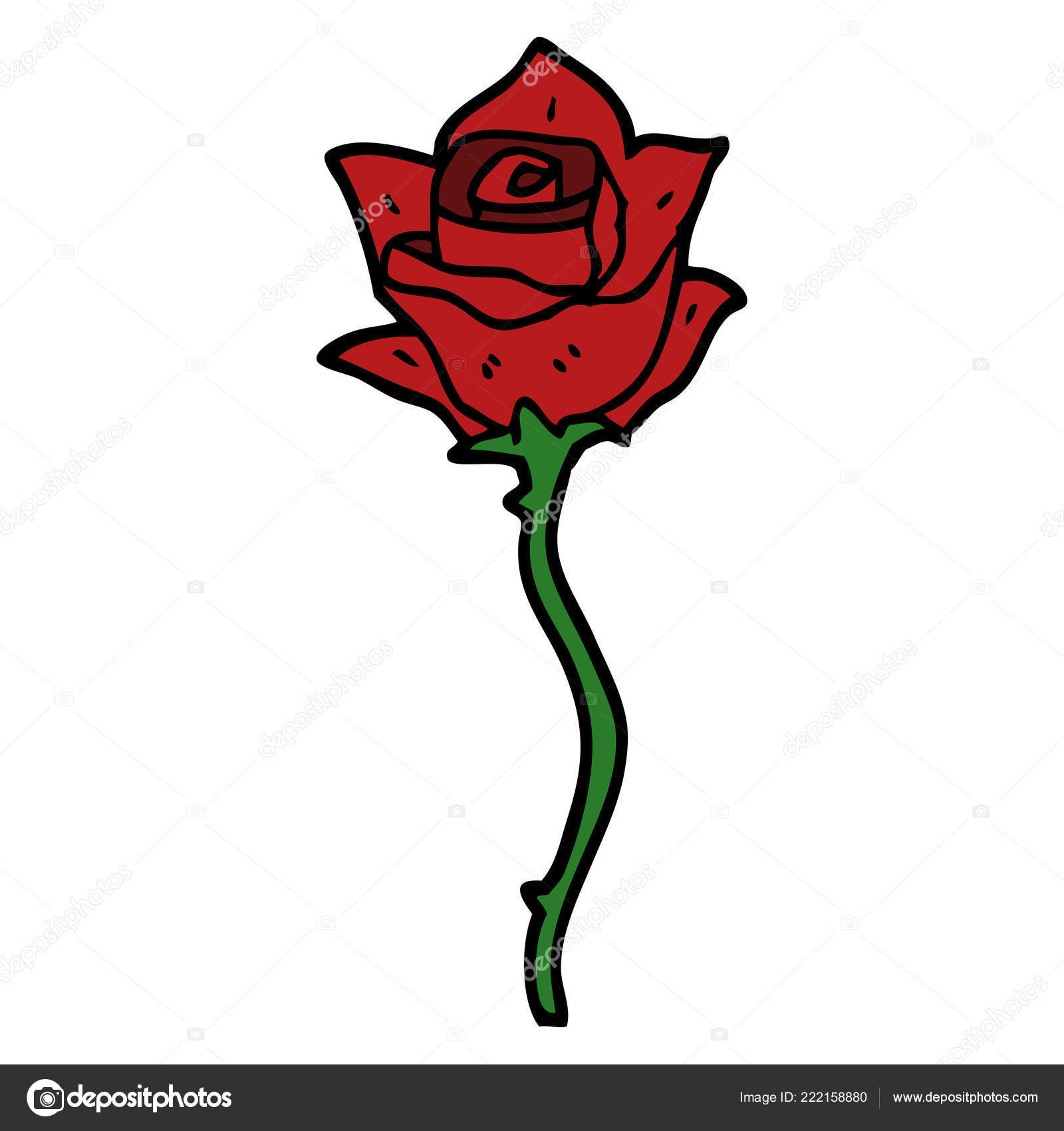 Dessin Animé Doodle Rose Rouge Image Vectorielle