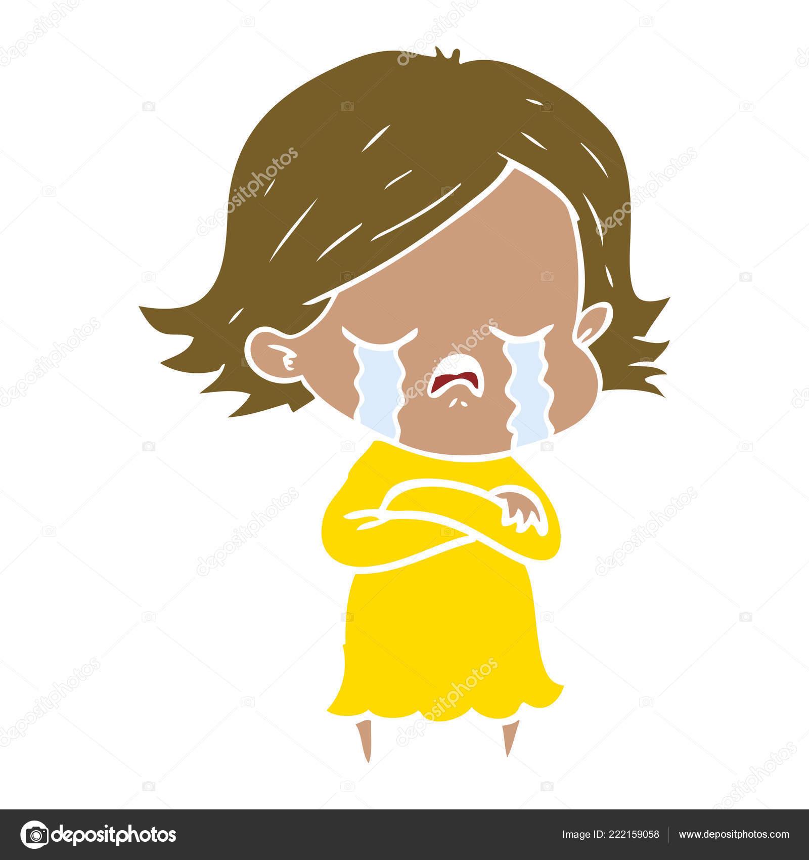 Fille Dessin Animé Style Plat Couleur Pleurer Image