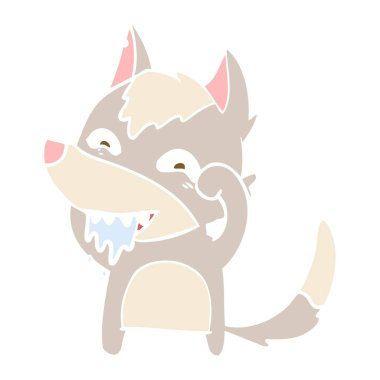 flat color style cartoon hungry wolf