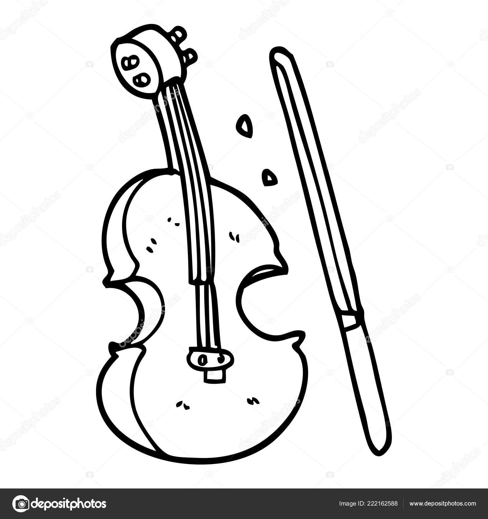 Line Drawing Cartoon Violin Bow Stock Vector C Lineartestpilot