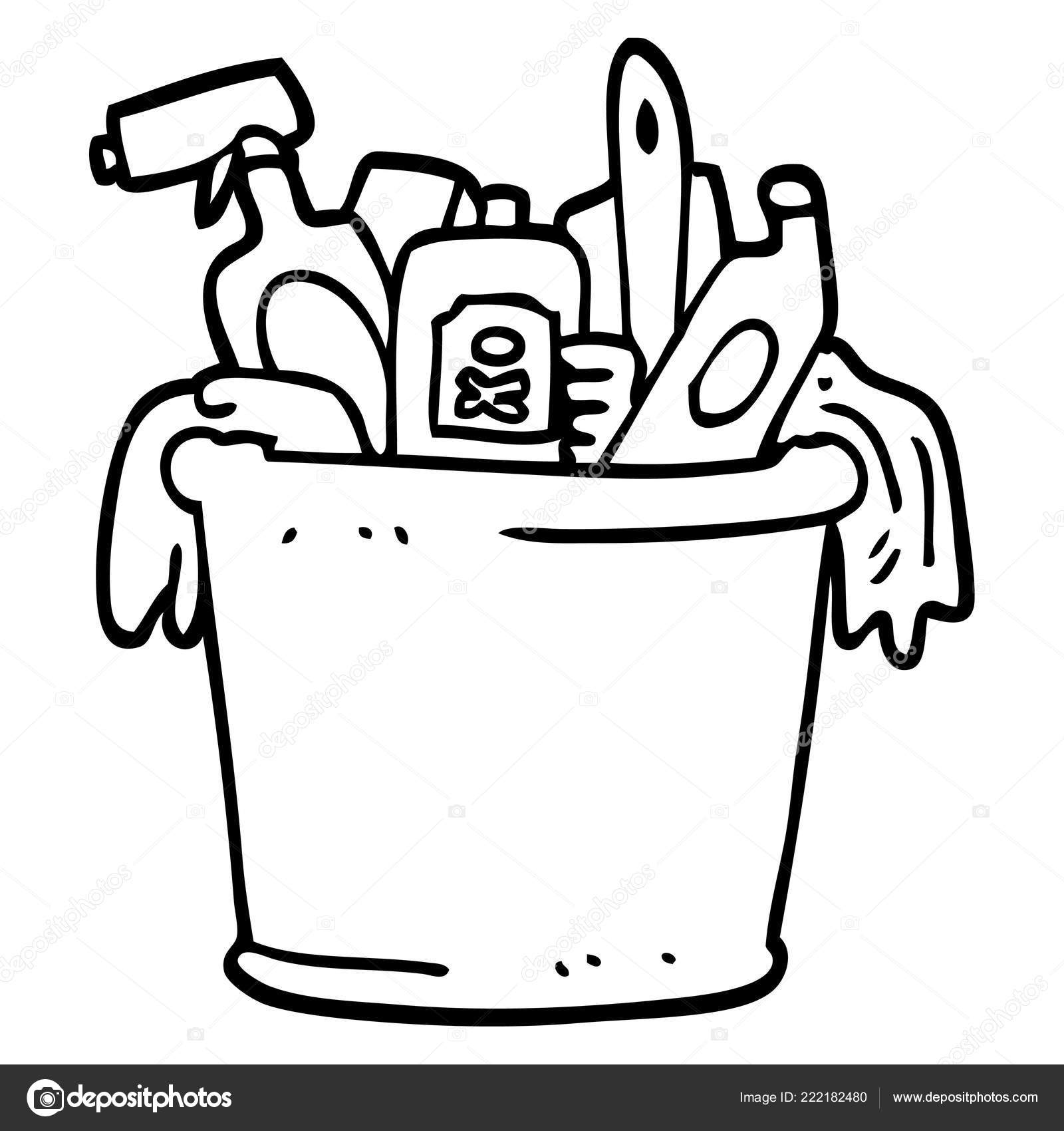 line drawing cartoon house cleaning products stock vector Cartoon Black and White House Block line drawing cartoon house cleaning products stock vector