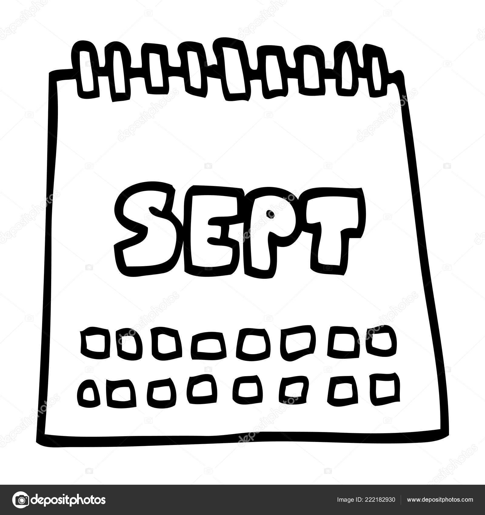 Calendario Dibujo Septiembre.Calendario Dibujos Animados Dibujo Lineas Mostrando Mes